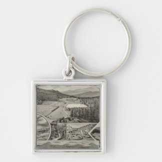 Barron & Merrill's White Mountain houses, NH Silver-Colored Square Keychain