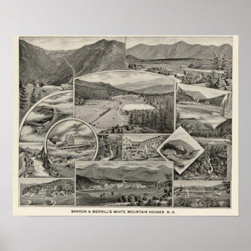 Barron y casas blancas de la montaña de Merrill, N Póster