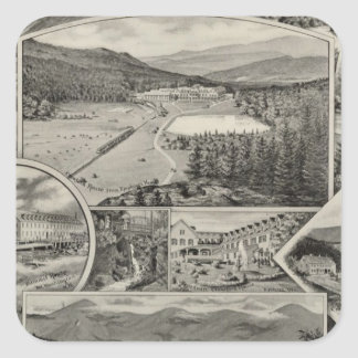 Barron y casas blancas de la montaña de Merrill, Pegatina Cuadrada