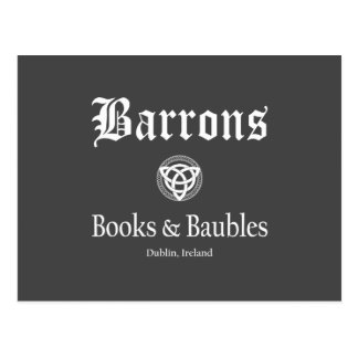 Barrons Books and Baubles Postcard Dark