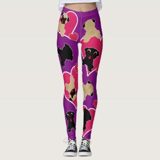 Barros amasados con los corazones en púrpura leggings