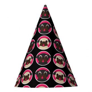 Barros amasados en fiesta de cumpleaños negra de gorro de fiesta