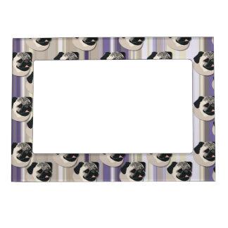 Barros amasados en rayas de color caqui y púrpuras marcos magnéticos de fotos
