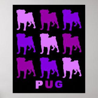 Barros amasados púrpuras en el poster negro