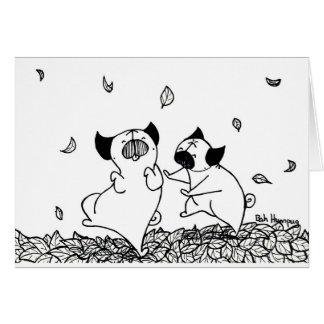 Barros amasados que bailan en hojas tarjeta de felicitación