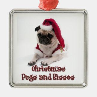 Barros amasados y besos del navidad adorno navideño cuadrado de metal