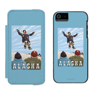 Barrow, Alaska Blanket Toss Vintage Travel iPhone SE/5/5s Wallet Case