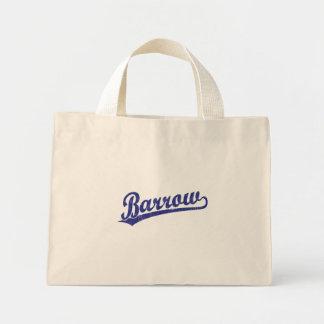 Barrow script logo in blue canvas bags