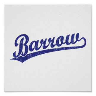 Barrow script logo in blue poster
