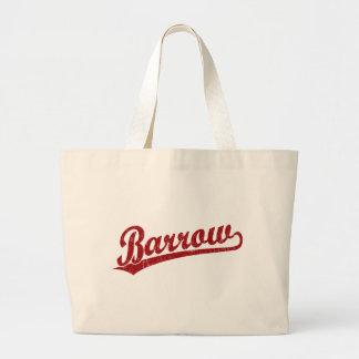 Barrow script logo in red canvas bag