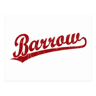 Barrow script logo in red postcard