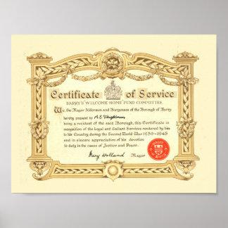 Barry, Wales heros certificat - A.E Weightman Poster