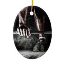 Bars and Chalk - Weightlifting Print Ceramic Ornament