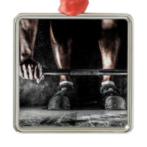 Bars and Chalk - Weightlifting Print Metal Ornament