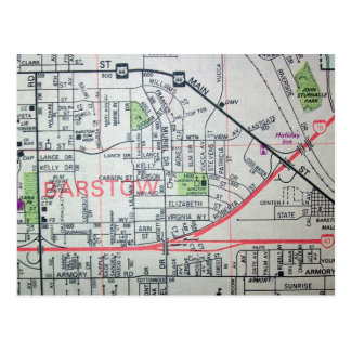 BARSTOW, CA Vintage Map Postcard