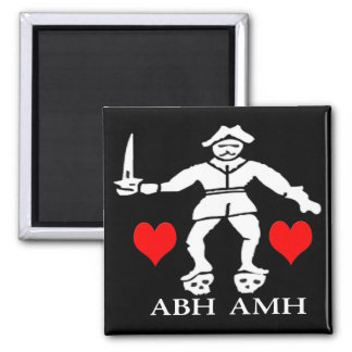 Bart Roberts #1 -Hearts 2 Inch Square Magnet