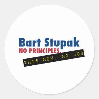 Bart Stupak - No Principles, No Job. Classic Round Sticker