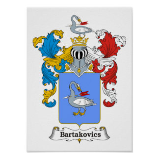 "Bartakovics Family Hungarian Coat of Arms 11x15"" P Poster"