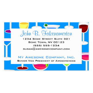 Bartender / Alcoholic Drinks Theme - Blue Business Card Template