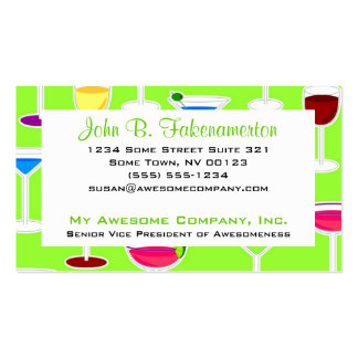 Bartender / Alcoholic Drinks Theme - Lime Green Business Card