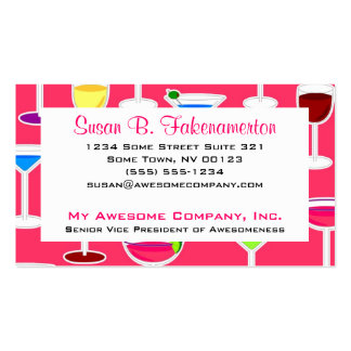Bartender / Alcoholic Drinks Theme - Pink Business Card