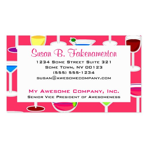 Bartender / Alcoholic Drinks Theme - Pink Business Card Templates
