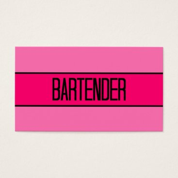 Professional Business Bartender Baby and Hot Pink Business Card