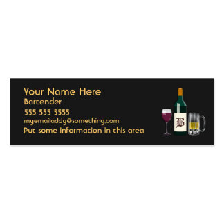 Bartender Black Double-Sided Mini Business Cards (Pack Of 20)