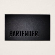 Bartender Bold Text Elegant Dark Minimalist Business Card at Zazzle
