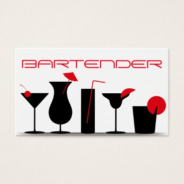 Professional Business Bartender Business Card