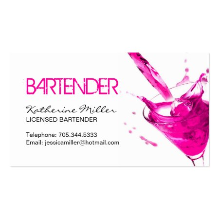 Pink Cocktail Bartender Calling Cards