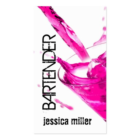 Chic Pink Drink Feminine or Girly Bartender Business Cards