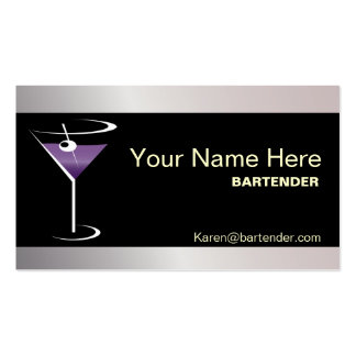 Bartender Business Card Purple Martini Logo