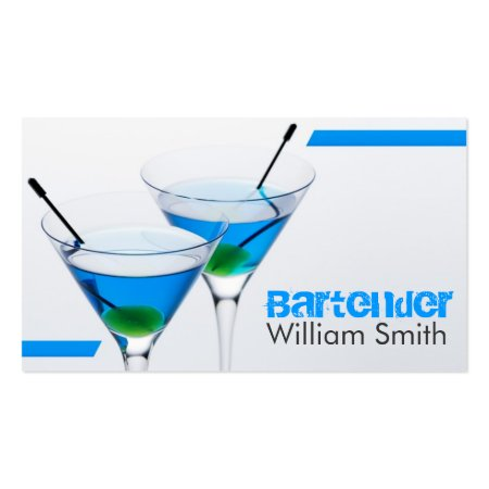 Blue Martini Glasses Business Cards