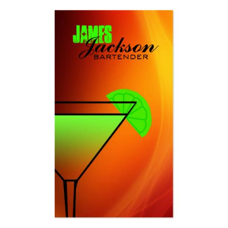 Smooth Yellow and Red Trendy Cocktail and Lime Bar or Bartender Business Cards