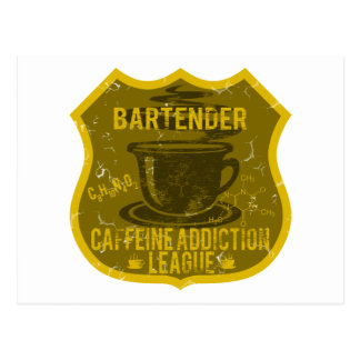 Bartender Caffeine Addiction League Postcard