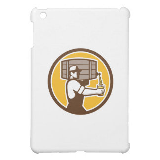 Bartender Carrying Keg Pouring Beer Circle Retro iPad Mini Case