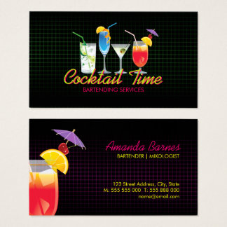 Bartender Cocktail Drinks Mixologist business card