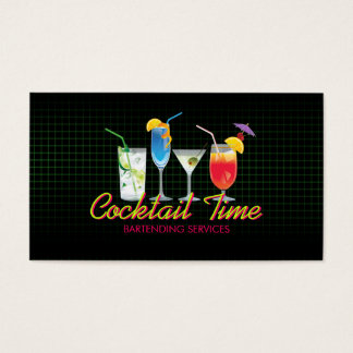 Bartender Cocktail Drinks Mixologist business card