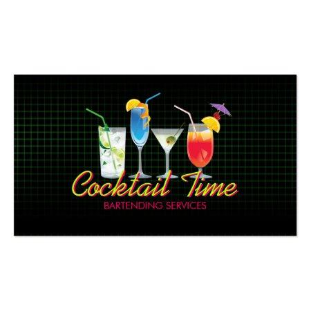 Trendy Cocktail Drinks Bartender or Mixologist Business Cards