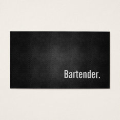 Bartender Cool Black Metal Simplicity Business Card at Zazzle