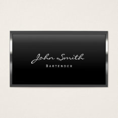 Bartender Cool Metal Border Modern Business Card at Zazzle