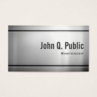 Bartender - Cool Stainless Steel Metal Business Card