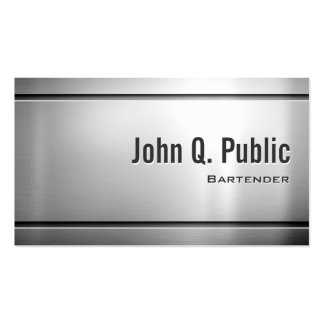 Bartender - Cool Stainless Steel Metal Double-Sided Standard Business Cards (Pack Of 100)