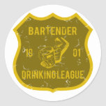 Bartender Drinking League Classic Round Sticker