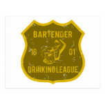 Bartender Drinking League Postcard