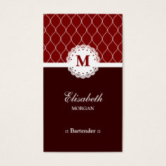Bartender Elegant Brown Lace Pattern Business Card at Zazzle