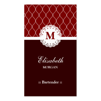 Bartender Elegant Brown Lace Pattern Double-Sided Standard Business Cards (Pack Of 100)