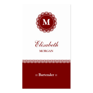 Bartender Elegant Red Lace Monogram Double-Sided Standard Business Cards (Pack Of 100)
