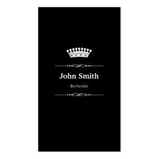 Bartender Elegant Royal Black White Double-Sided Standard Business Cards (Pack Of 100)